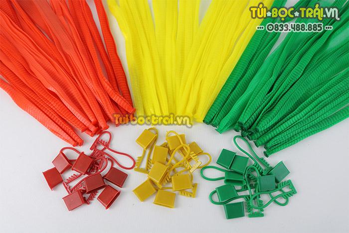 Túi lưới đóng hoa quả các loại màu kèm khóa rút dài 25 cm