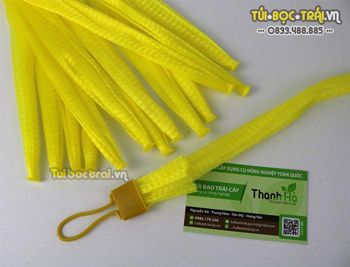 Túi lưới đựng nông sản kèm khóa rút màu vàng dài 35 cm