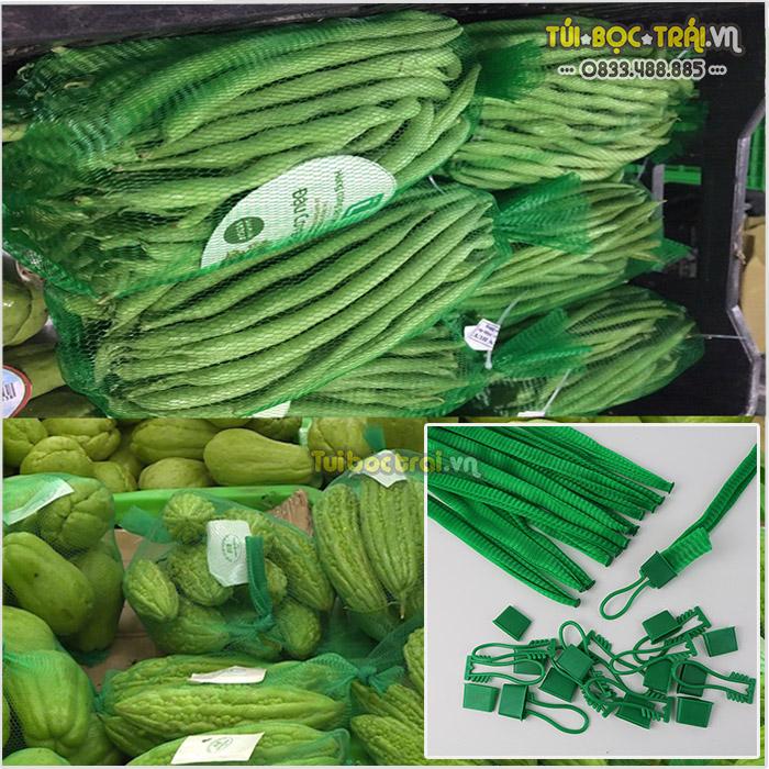 Túi lưới đựng thực phẩm 40 cm kèm khóa màu xanh