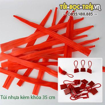 Túi lưới nhựa dài 35 cm kèm móc khóa màu đỏ (1 kg)