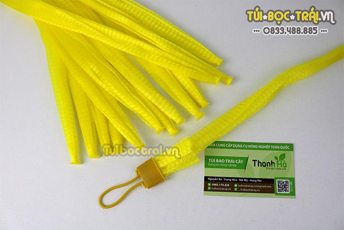 Túi lưới nhựa đựng trái cây màu vàng dài 35 cm