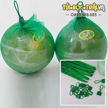 Túi lưới nhựa xanh dài 35 cm kèm móc khóa (1 kg)